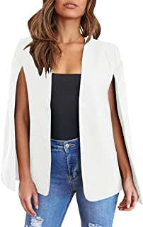 Womens Cape Blazer Split Open Front Cloak Jacket Workwear
