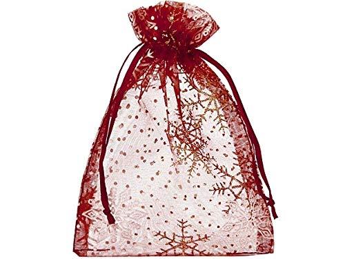 20 Organzasäckchen, Organzabeutel mit schimmernden Kristallen in Gold und Weiß, Größe 23x15cm, Geschenkverpackung, Weihnachten, Weihnachtsbeutel, Fest, Dekoration, Winter (Bordeaux)