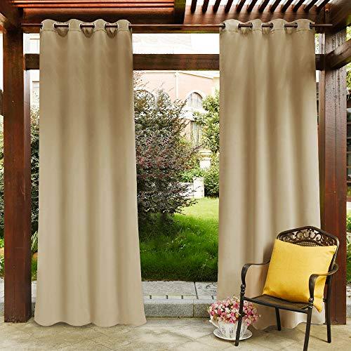 PONY DANCE Verdunklungsvorhänge Outdoor - Balkon für Sichtschutz & Sonnenschutz Vorhang Blickdicht Biscotti Beige Outdoor Gardinen mit Ösen, 1 Stück H 243 x B 132 cm
