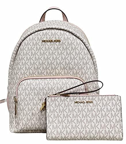 Michael Kors Erin MD Backpack MK Signature Vanilla Pink Powder Blush Bundled With Jet Set Double Zip Wristlet