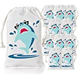 KREATWOW Shark Party Favor Bags Shark Goodie Drawstring Gift Bags for Shark Party Supplies 5 x 8 inches 10 Pack