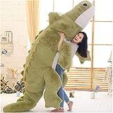 YABINA TOYS ぬいぐるみ ワニ/鰐 特大わに抱き枕 動物玩具 ふわふわプレゼント (グリーン, 230cm)