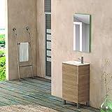Juego de Mueble de Baño BUSAN, Conjunto formado por Mueble de Baño Lacado para Lavabo, Medidas (49x33x90), Lavabo Encimera y Espejo a juego. Moderno y Minimalista, Fácil Instalación, Resistente Agua