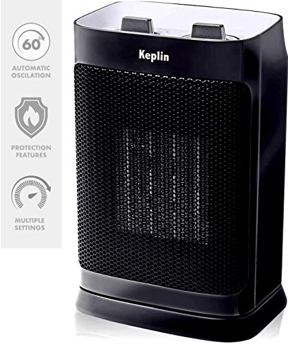 KEPLIN Oscillating Ceramic Electric Fan Heater (750-1500W) - Mini Portable 2 Heat Setting Home, Office, Thermostat Adjustable Patio Radiator Automatic Efficient Warming Air Conditioner (Black)