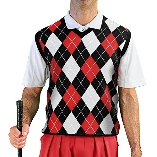 V-Neck Argyle Golf Sweater Vests - GolfKnickers: Mens - Pullover - Black/Red/White - X-Large