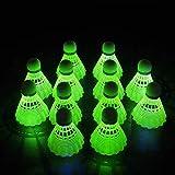 HIRALIY 12 Pack LED Badminton Shuttlecocks Birdies Lighting Nylon Shuttlecocks Glow in The Dark for Backyard Family Game, Includes 6 Green LED and 6 Blue LED