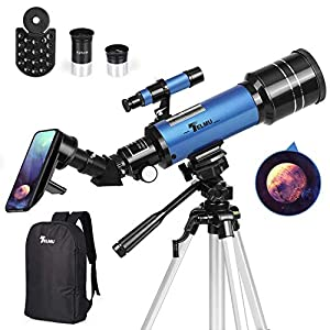 TELMU Telescope, 70mm Aperture 400mm AZ Mount Astronomical Refracting Telescope Adjustable(17.7In-35.4In) Portable Travel Telescopes with Backpack, Phone Adapter from TELMU