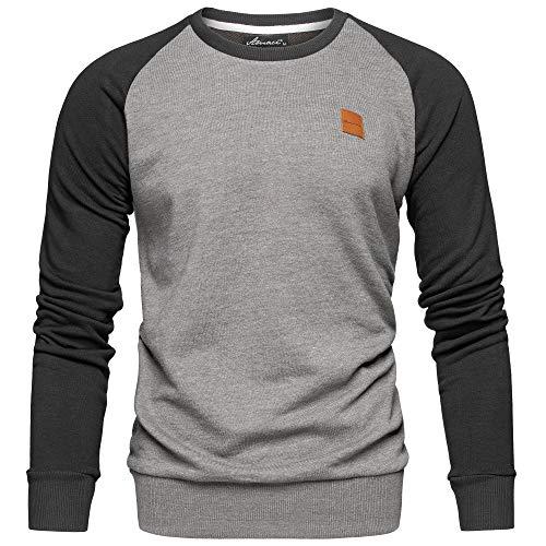 Amaci&Sons Herren Basic College Sweatjacke Pullover Hoodie Sweatshirt 4050 Anthrazit/Schwarz XXL