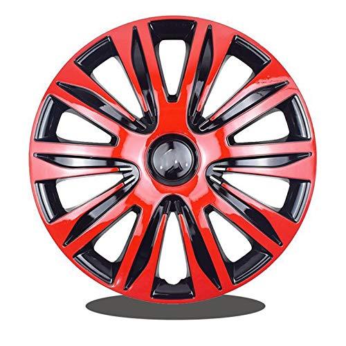 CHICAI 1PCS Tapacubos Compatible con 13/14/15 Pulgada Cubiertas de la Rueda del Coche Modificación de Piezas (Negro Rojo) (Size : 13INCH)