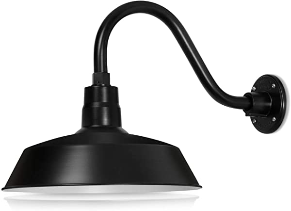 14in Satin Black Outdoor Gooseneck Barn Light Fixture With 14 5 In Long Extension Arm Wall Sconce Farmhouse Vintage Antique Style UL Listed 9W 900lm A19 LED Bulb 5000K Cool White