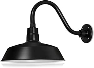 14in. Satin Black Outdoor Gooseneck Barn Light Fixture With 14.5 in. Long Extension Arm - Wall Sconce Farmhouse, Vintage, Antique Style - UL Listed - 9W 900lm A19 LED Bulb (5000K Cool White)