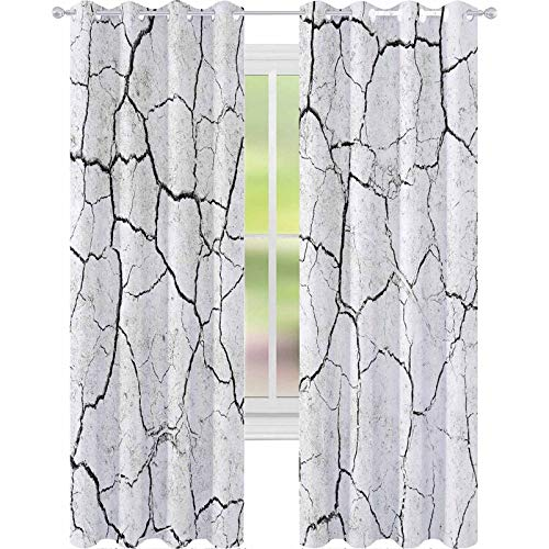 """YUAZHOQI Thermal Insulated Blackout Curtain White Dried and Cracked Ground Earth Background Closeup of Dry Fissure Ground Gray Crack on Earth te 52"""" x 63"""" Customized Curtains"""