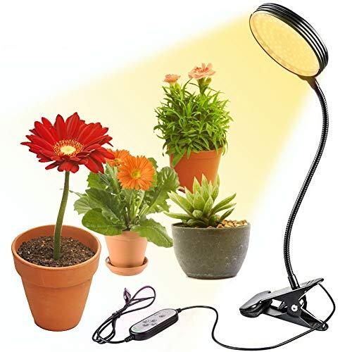 15W LED Pflanzenlampe, 78 LEDs Sonnenähnliche Vollspektrum-Pflanzenleuchten mit Timer, 5 dimmbare Stufen, Auto On/Off, Verstellbarer Schwanenhals wasserdichte Grow Lampe für Zimmerpflanzen