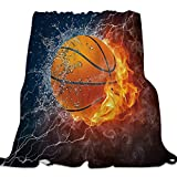 Ultra Soft Flannel Fleece Bed Blanket Basketball on Fire and Water Flame Splashing Lightning Throw Blanket All Season Warm Fuzzy Light Weight Cozy Plush Blankets for Living Room/Bedroom 40 x 50 inches