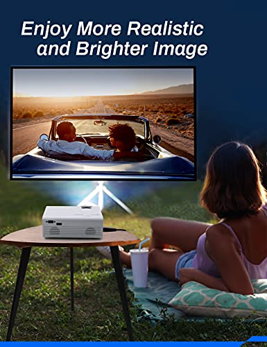 Projector, Crosstour Mini Portable Video Projector, Home Cinema Supports Full HD 55000 Hours LED Lamp Life, Compatible with TV Stick/PC/PS4/USB/SD (HDMI/AV Cables Included)