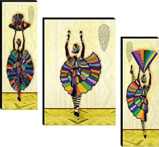 SND UV Textured African Set of 3 Modern Art Print MDF Frame Painting for Living Room Wall for Home Decoration (12 X 4.5 in...