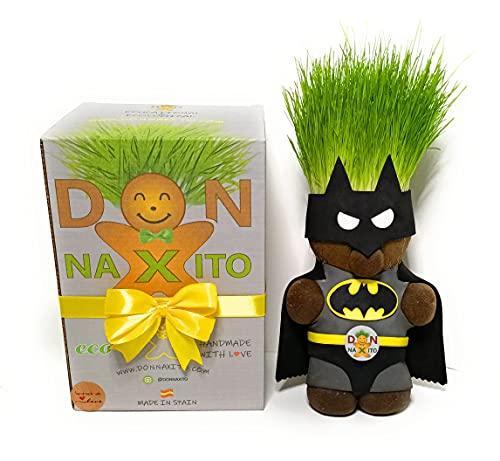 Cabeza Hierba ,Grashead ,Juguete Educativo para niños y niñas,Ecologico, Don Naxito Batman - Sostenible,Divertido con crecimiento de cesped natural ultrarapido
