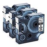 Nastro per Etichette Unistar Compatibile In sostituzione di Dymo D1 Etichette 45013 S0720530 Nero su Bianco 12mm x 7m, per Dymo Stampanti LabelManager 160 200 210D 220P 260 260P 280 300 360D