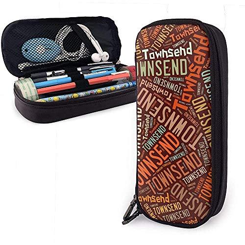 Townsend - Amerikanischer Familienname Hochleistungs-Federmäppchen aus Leder, Bleistiftstift-Schreibwarenhalter Große Aufbewahrungstasche, Student Stationery Bag