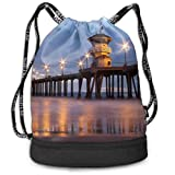 zhangyuB Polyester Bolsa con cordón Theft Proof Waterproof Large Size Rucksack Large Capacity For Basketball, Volleyball, Baseball, Sports & Workout Gear (Huntington Beach Pier)