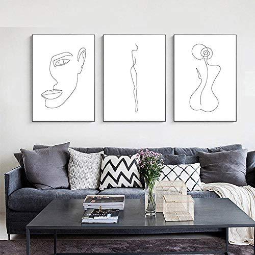 Dessin Au Trait Femme Corps Visage Abstrait Affiche Noir Blanc Nordique Minimalisme Mur Art Imprimer Toile Peinture Image Décorative sans Cadre 35 * 50cm*3