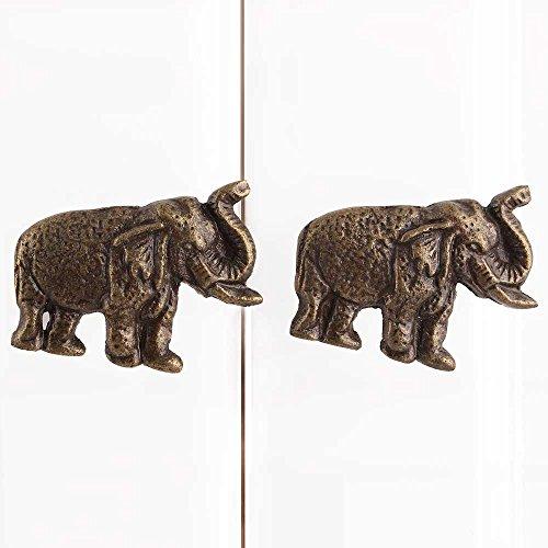 Indianshelf Handmade 6 Pieces Iron Artistic Elephant Antique Knobs and Pulls for Dresser Cabinet Wardrobe Online