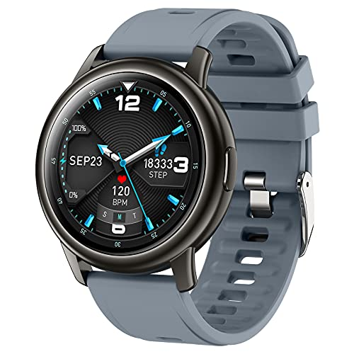 QFSLR Smartwatch, Reloj Inteligente Impermeable IP68 con Monitor De Frecuencia Cardíaca Monitor De Presión Arterial Monitoreo De Oxígeno En Sangre Reloj Deportivo para Android iOS,Azul