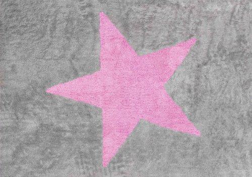 Aratextil. Tapis en 100% coton lavable en machine. Collection Estrella Gris_Rosa 120x160 cms