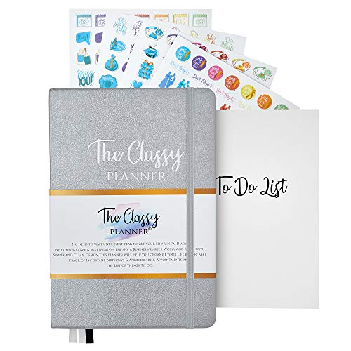 Planner Undated - A5 Diary & Stickers - Daily Weekly & Monthly Personal Organiser. Achieve Your Goals with to Do Lists, Space for Daily Notes & More