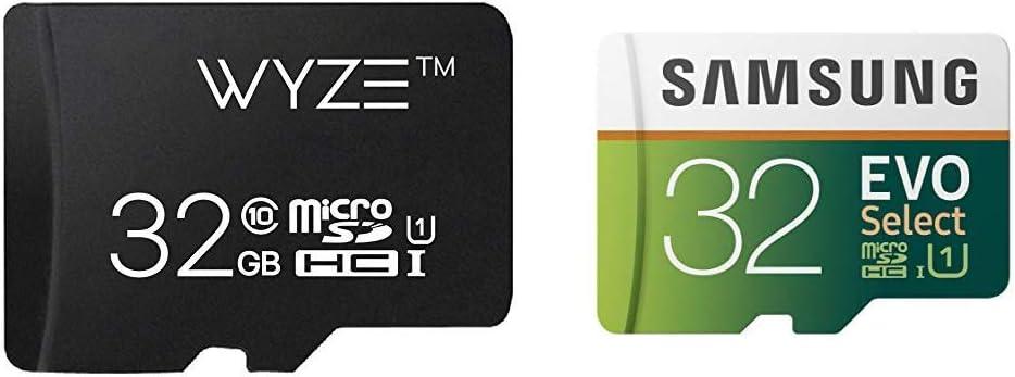 Wyze Labs Expandable Storage 32GB MicroSDHC Card Class 10 & Samsung 32GB 95MB/s (U1) MicroSD EVO Select Memory Card with Adapter (MB-ME32GA/AM)
