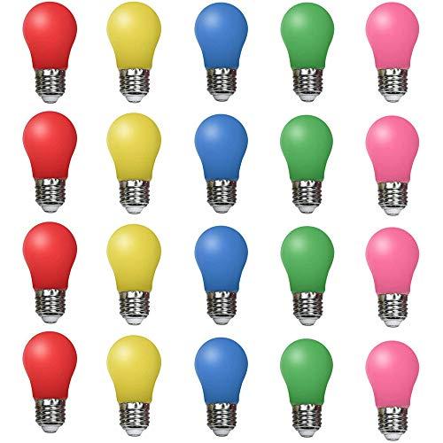 20er Set farbige LED Leuchtmittel Birnenform 2W E27 gemischt Rot Gelb Grün Blau Rosa, farbige Glühbirnen Party Glühbirnen