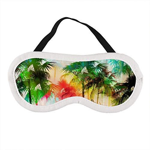 Tropical Island Scenic met Distressed Regenboog Kleurplaten Slaapoog Masker Slapende Maskers Blinddoek Katoen Oog Kussen Zacht voor Vrouwen Mannen Reizen Naps Gepersonaliseerd