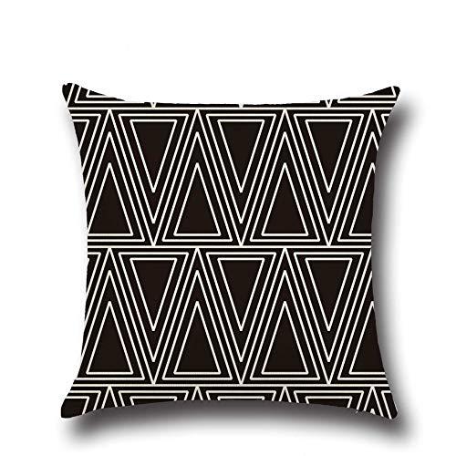 PPMP Funda de cojín Negra con Letras geométricas para sofá, Funda de Almohada para Dormitorio, decoración del hogar, Funda de Almohada para abrazar, Funda de cojín A12 45x45cm, 1pc