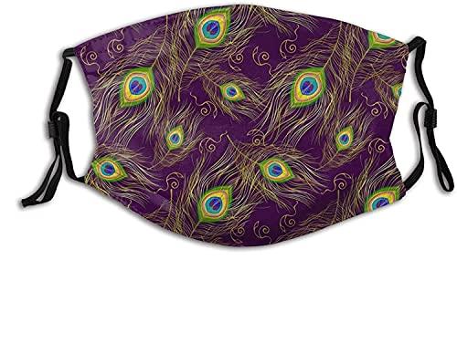YRUI Atmungsaktive Gesichtsmaske mit Pfauenfedern, für Erwachsene, winddicht, atmungsaktiv, Angeln, Wandern, Laufen, Radfahren