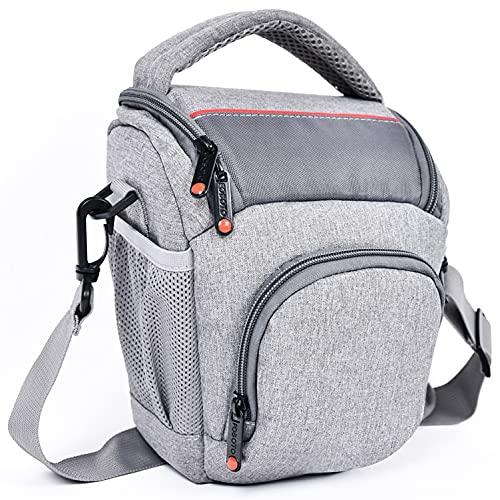 FOSOTO Bolsa para cámara réflex DSLR/SLR resistente al agua con cubierta para la lluvia compacta bolsa colgante para Canon Sony Nikon Fuji objetivos y flashes
