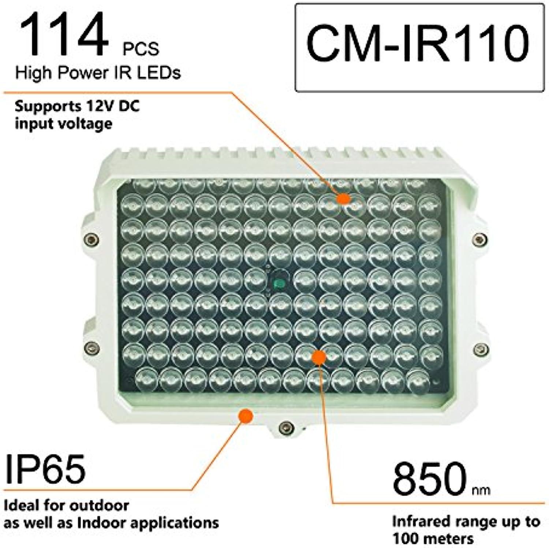 CMVision IR110-114 Infrarotstrahler 12V DC 3A mit groer Reichweite für Innen- und Auenbeleuchtung, 200-300 Fu (Kein Netzteil)