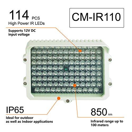 CMVision IR110-114 Infrarotstrahler 12V DC 3A mit großer Reichweite für Innen- und Außenbeleuchtung, 200-300 Fuß (Kein Netzteil)