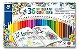 Staedtler 157 M36JB ST Ergosoft Set de 36 Crayons de couleur avec système anti-casse pour coloriage enfant/adulte mine douce 3 mm Couleurs Lumineuses