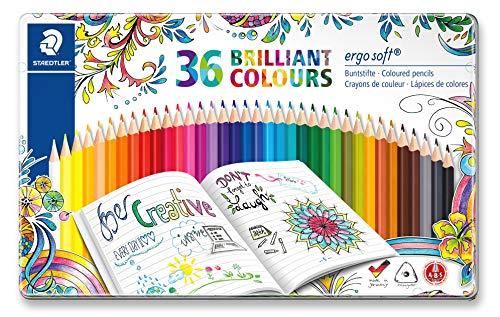 Staedtler Ergosoft Triangular Colouring Pencil, Assorted Colours (Pack of 36)
