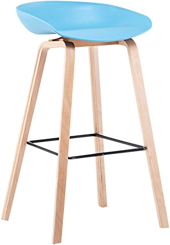 MENA Home Barhocker moderner einfacher hoher Schemel Hauptbarhocker Barhocker Barhocker des festen Holzes (Farbe   Blau)