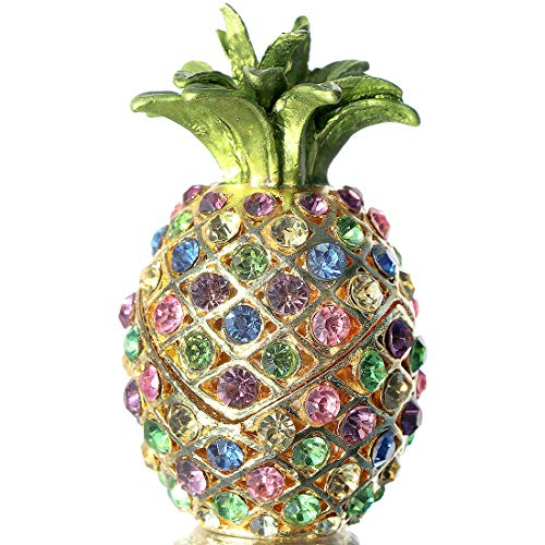 Waltz&F Pineapple Hinged Trinket Box Hand-Painted Patterns Trinket Bejeweled Box Collectible