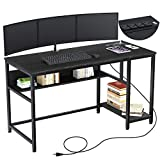 Rolanstar Computer Desk with Power Outlets, 47'/55' Office Desk with 2 Storage Shelves with Corner Protectors, Study Table, Workstation,Business Style, Stable Metal Frame, RTB00D-BL140-1