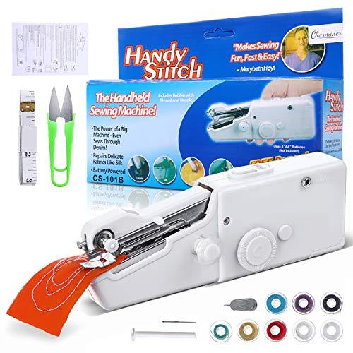 Charminer Mini máquina de coser, mini máquina de coser portátil eléctrica de mano máquina de coser rápida y manejable adecuada para ropa de tela, cortinas, DIY hogar y uso de viaje (blanco)