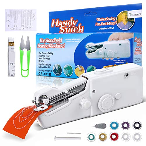 Handheld Portable Sewing Machine Yibaision Mini Electric Stitching Machine Cordless Stitch Quick Repairs Fabric Leather Denim 15 PCS