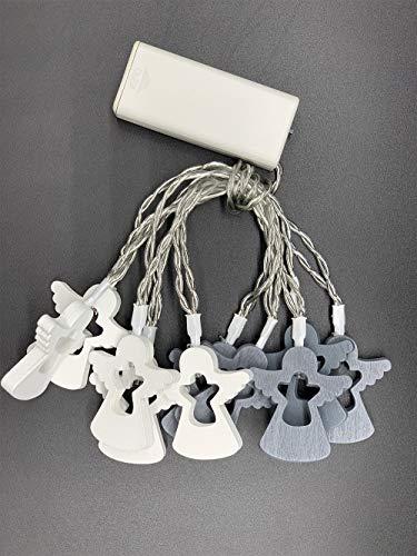 Style home Lichterkette 10er LED Lichterketten mit Engel & Timer, Batteriebetriebene Lichter für Innen Party Weihnachten Hochzeit Deko (Warmweiß, Holz)