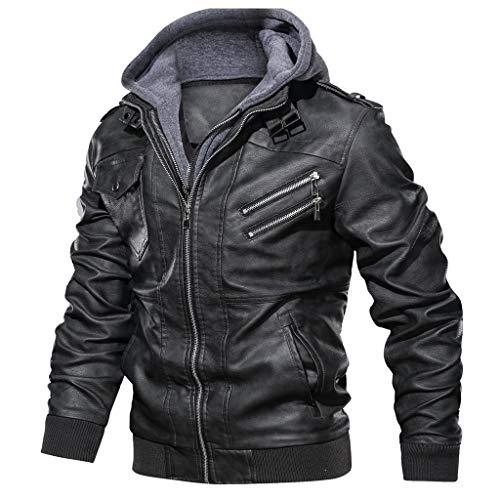 Landscap Men's Leather Motorcycle Jacket Hoodie Zipper Fashion Vintage Casual Outdoor Windbreaker Jacket Coat(Black,L)
