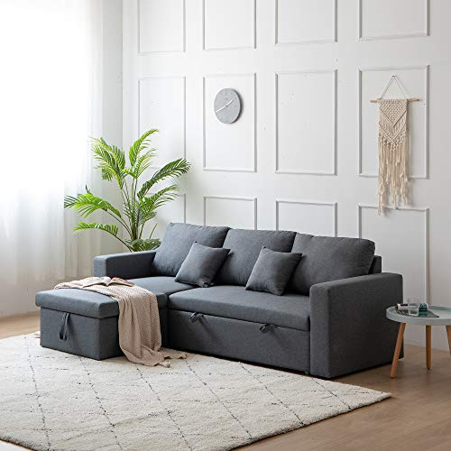 Kingway Sectional Sofa Bed with Storage Convertible Chaise Sofabed, W83D53H36, Gray