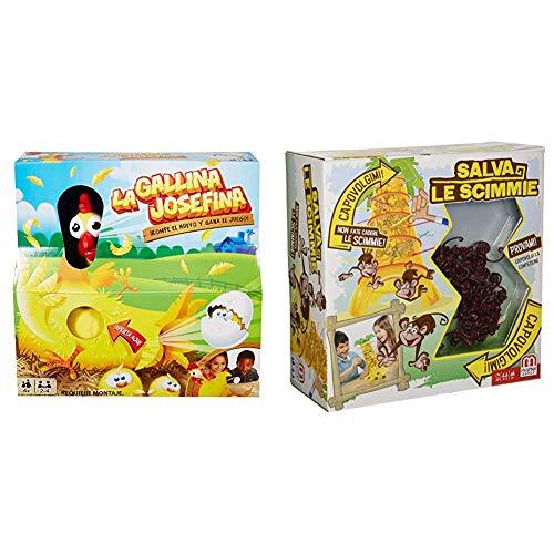 Mattel - Pack La Gallina Josefina + Monos Locos, juegos de mesa para niños