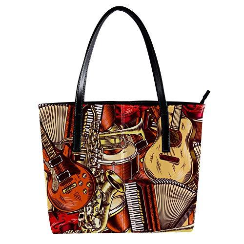 TIZORAX Gitarren-Akkordeon-Damen-Handtasche aus PU-Leder mit Tragegriff, Schultertaschen