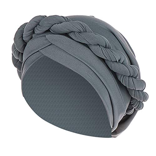HYIRI Sunscreen Fashion Women Braid India Hat Muslim Ruffle Cancer Chemo Beanie Turban Wrap Cap Gray